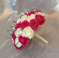 WEDDING FLOWERS ARTIFICIAL IVORY/HOT PINK FOAM ROSE BRIDE WEDDING BOUQUET